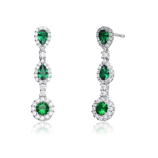 Link to Collette Z Sterling Silver Green and White Cubic Zirconia Long Dangle Earrings Similar Items in Earrings