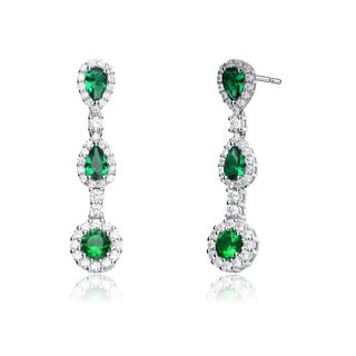 Collette Z Sterling Silver Green and White Cubic Zirconia Long Dangle Earrings