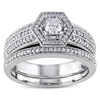Miadora Signature Collection 14k White Gold 1/2ct TDW Diamond Vintage Halo Hexagon Bridal Ring Set