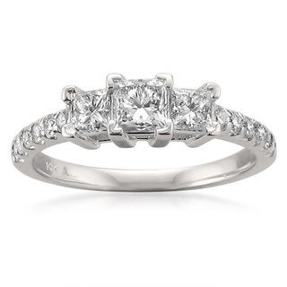 Montebello 14k White Gold 1ct TDW Princess-cut 3-stone Diamond Engagement Ring