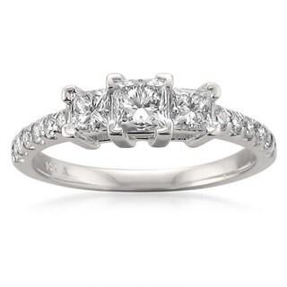 Montebello 14k White Gold 1ct TDW Princess-cut 3-stone Diamond Engagement Ring