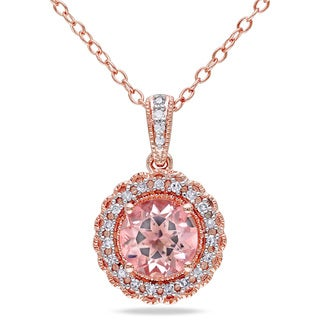 Miadora Rose Goldplated Silver Morganite and 1/10ct TDW Diamond Necklace (H-I, I2-I3)