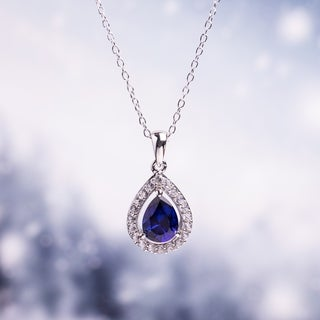 2 1/5ct TGW Created Blue and White Sapphire Drop Necklace in Sterling Silver by Miadora - 21 mm x 18 in x 11 mm
