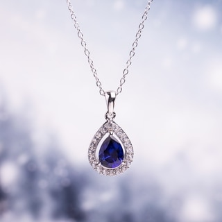M by Miadora Sterling Silver Created Blue and White Sapphire Drop Necklace