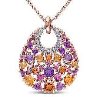 Miadora Rose Goldplated Silver Multi-gemstone Necklace