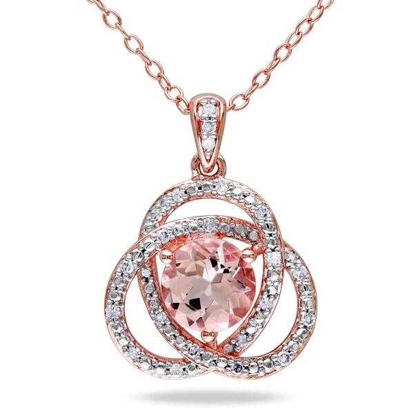 Miadora Rose Plated Silver Morganite and 1/10ct TDW Diamond Necklace (H-I, I2-I3)
