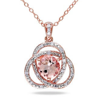 Miadora Rose Plated Silver Morganite and 1/10ct TDW Diamond Necklace (H-I, I2-I3)