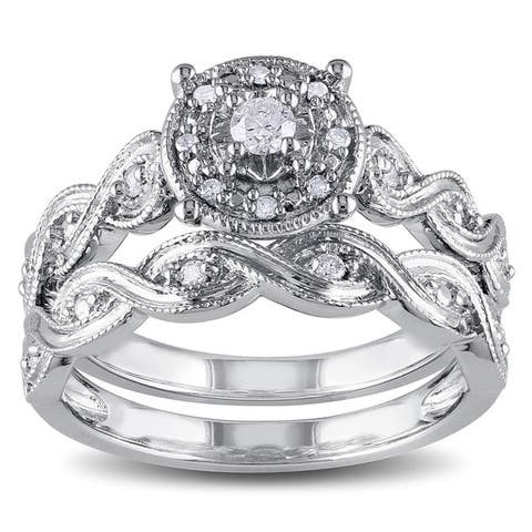 Miadora Sterling Silver 1/5ct TDW Diamond Infinity Filigree Vintage Halo Bridal Ring Set - White