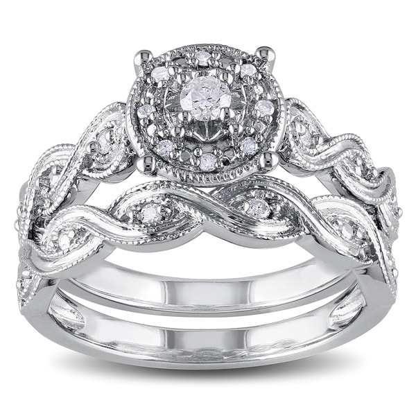 miadora sterling silver 15ct tdw diamond infinity filigree vintage halo bridal ring set - Halo Wedding Ring Set