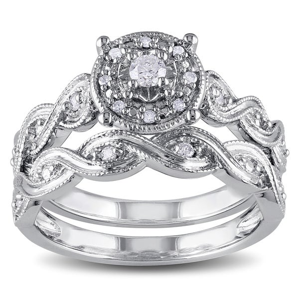 miadora sterling silver 15ct tdw diamond infinity filigree vintage halo bridal ring set - Sterling Silver Diamond Wedding Ring Sets