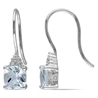 Miadora 10k White Gold Aquamarine and Diamond Accent Dangle Earrings