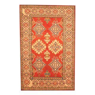 Herat Oriental Afghan Hand-knotted Tribal Kazak Red/ Beige Wool Rug (4'4 x 6'9)