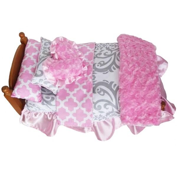 AnnLoren Lattice and Damask 7-piece Bedding Set for 18-inch Dolls
