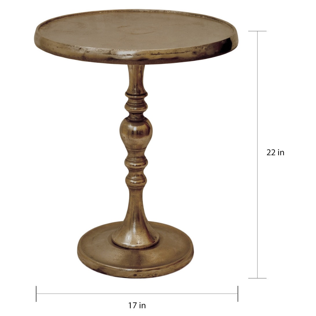 - Shop Copper Grove Vyshneve Round Aluminum Accent Table With Nickel