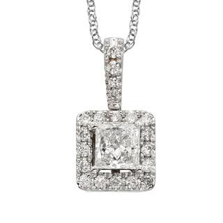 Sofia 18k White Gold 1/2ct TDW White Diamond Halo 18-inch Necklace (E-F, SI1-SI2)