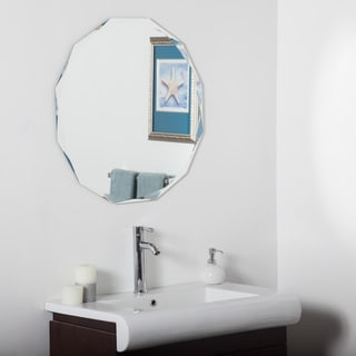Frameless Diamond Wall Mirror - Silver - 27.6 dia x .5D
