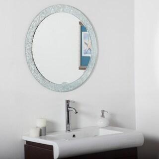 Decor Wonderland Molten Silvertone Glass/Metal Round Bathroom Mirror