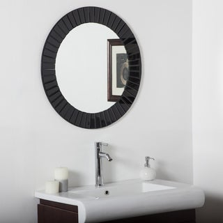 The Glow Modern Black Frameless Wall Mirror
