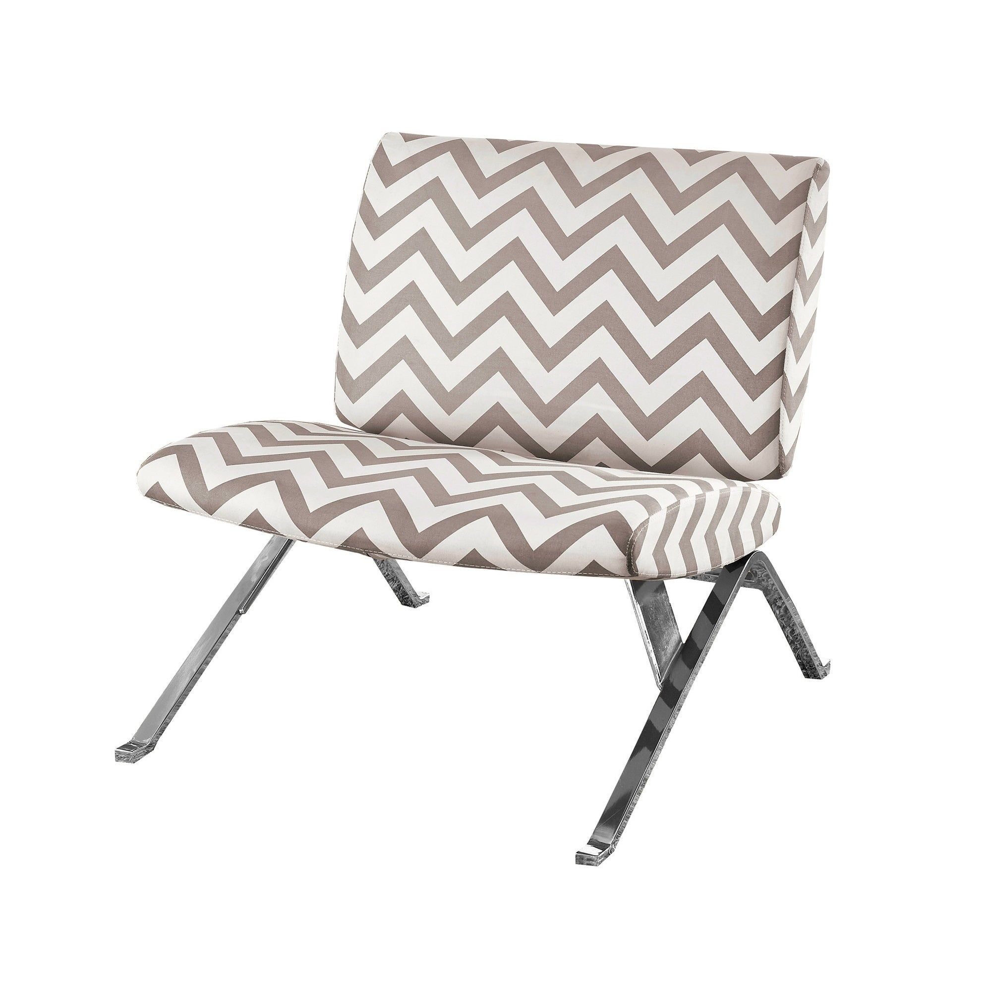 Dark Taupe Chevron Metal and Fabric Accent Chair (Dar taupe)