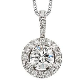 Sofia 18k White Gold 1ct TDW Diamond Halo Pendant Necklace