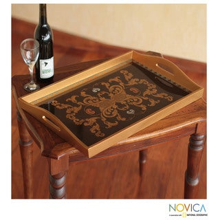 Handcrafted Reverse Painted Glass 'Colonial Ebony' Tray (Peru)