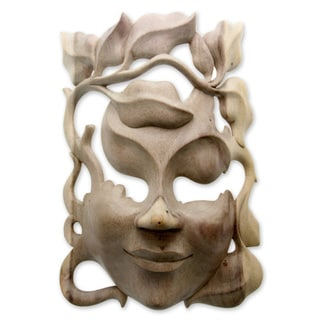 Handmade Quirky Hibiscus Wood Mask (Indonesia) - multi