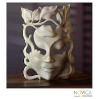 Handmade Hibiscus Wood 'Quirky' Mask (Indonesia)