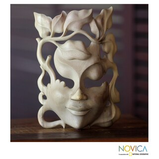 Handmade Hibiscus Wood 'Quirky' Mask (Indonesia) - Multi