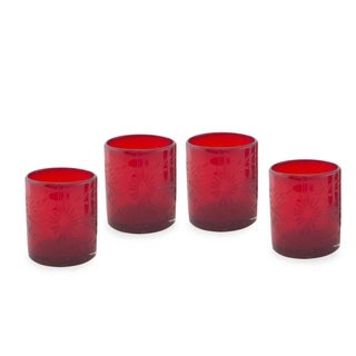 Handmade Set of 4 Blown Glass 'Ruby Garden' Tumblers (Mexico)