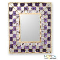 Mohena Wood Reverse Painted Glass 'Golden Lilacs' Mirror (Peru) - Multi - N/A