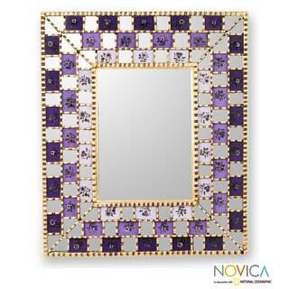 Mohena Wood Reverse Painted Glass 'Golden Lilacs' Mirror (Peru)
