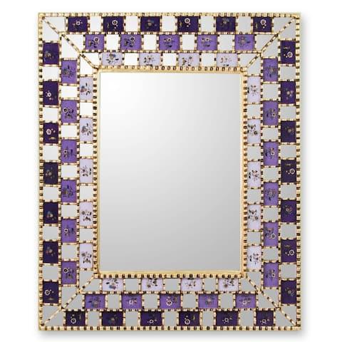 Handmade Mohena Wood Reverse Painted Glass 'Golden Violets' Mirror (Peru) - Purple