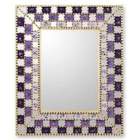 Handmade Mohena Wood Reverse Painted Glass 'Golden Violets' Mirror (Peru) - Purple - N/A