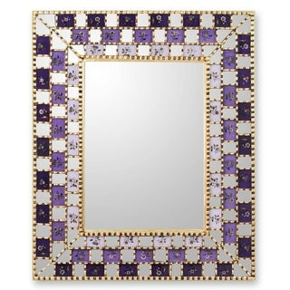 Handmade Mohena Wood Reverse Painted Glass 'Golden Violets' Mirror (Peru)
