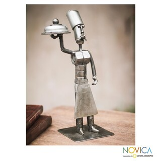 Handmade Recycled Metal 'Master Chef' Sculpture (Peru)