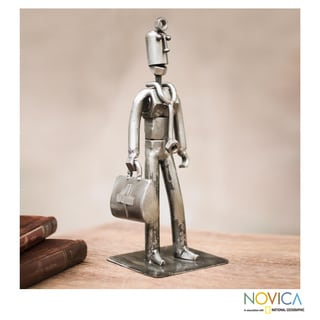 Handmade Recycled Metal 'Doctor on a House Call' Sculpture (Peru)