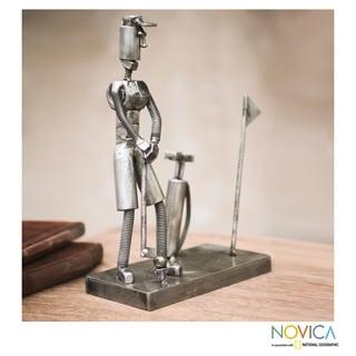 Handmade Recycled Metal 'Golf Pro' Sculpture (Peru)