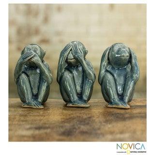 Set of 3 Celadon Ceramic Wise Blue Monkeys' Figurines (Thailand)