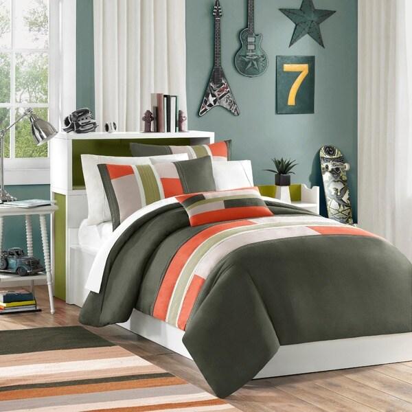 Mi Zone Circuit Olive/ Orange Duvet Cover Set