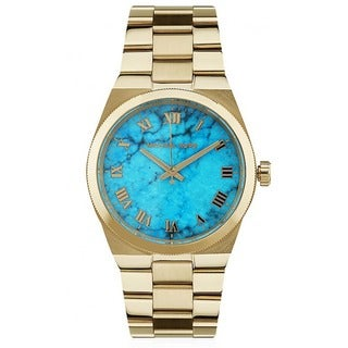 Michael Kors Women's Channing Turquoise Dial Goldtone Stainless Steel Watch