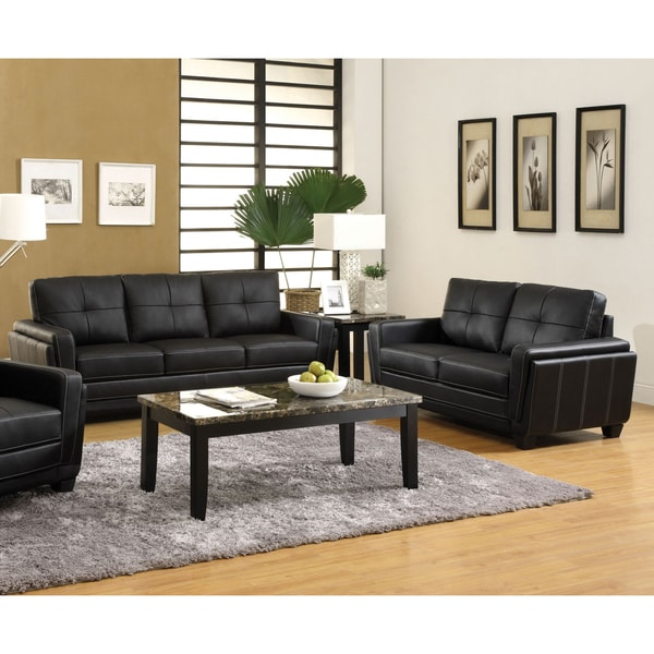 Furniture Of America Bedford 2 Piece Tufted Black Leatherette Sofa And  Loveseat Set