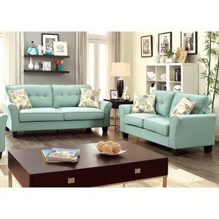 Furniture of America Primavera Modern 2-Piece Linen Loveseat and Sofa Set