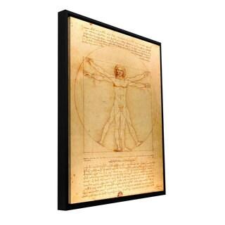 Leonardo DaVinci 'Vitruvian Man' Floater-framed Gallery-wrapped Canvas