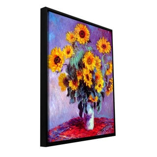 Claude Monet 'Sunflowers' Floater-framed Gallery-wrapped Canvas