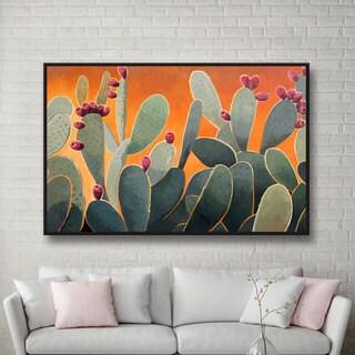 Rick Kersten 'Cactus Orange' Floater-framed Gallery-wrapped Canvas