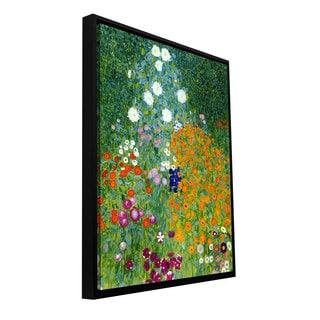 Gustav Klimt 'Farm Garden' Floater-framed Gallery-wrapped Canvas