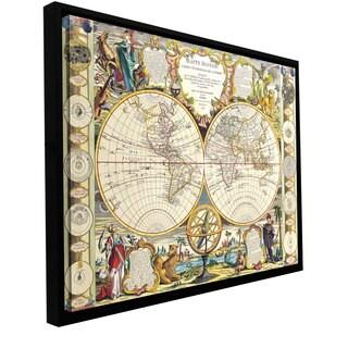 Samuel Dunn 'Mappe-Monde Carte Universelle de la Terre Dressee' Floater-framed gallery-wrapp