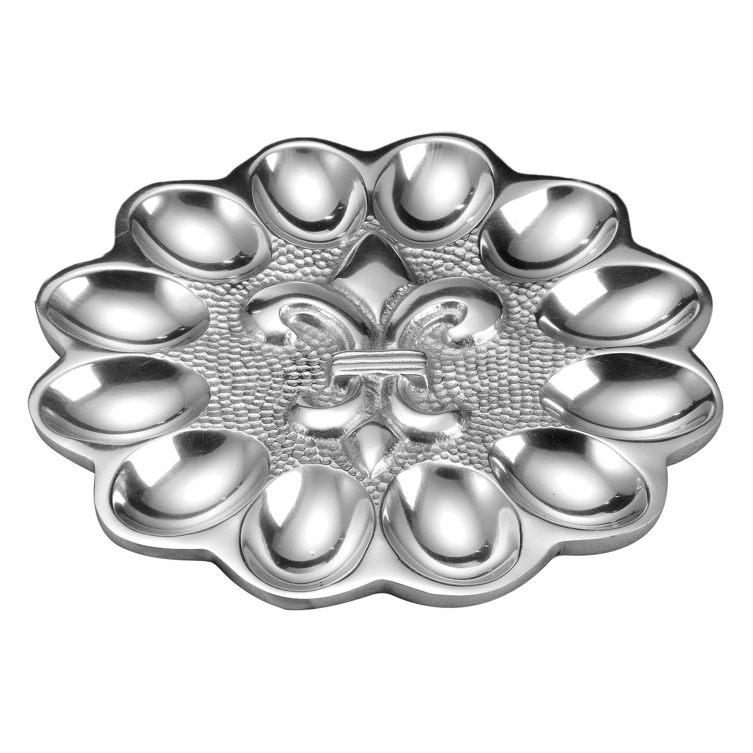 St. Croix KINDWER Scalloped Fleur de Lis Egg Tray, Silver...