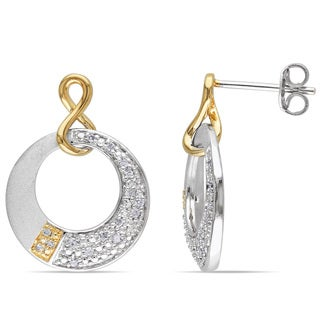 Miadora Two-tone Silver 1/6ct TDW Diamond Circle Infinity Dangle Earrings (H-I, I2-I3)