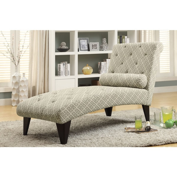 Sandstone/ Grey 'Maze' Fabric Chaise Lounge Chair